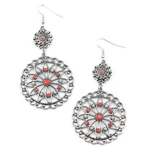 Floral Silver Red & Gray Beaded Dangle Earrings